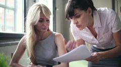 Businesswoman in office gets reprimand from her boss, steadicam shot HD Stock Footage