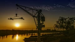 Sunset in the Port Timelapse Stock Footage