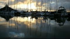 Yachts Sunrise Stock Footage