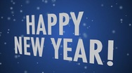 Stock Video Footage of Happy New Year (multi language) Blue