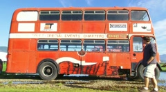 Old Double Decker Bus Stock Footage