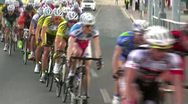Stock Video Footage of cyclists race