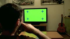 Watching TV - Green screen 5 - stock footage