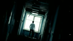Stock video footage corridor, hallway, abandoned mental hospital - stock footage