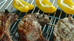 Pork Steaks On Barbecue Grill Stock Footage