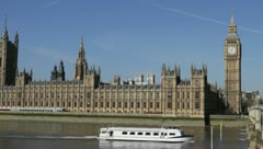 Westminster Pariament and bridge in London, UK - stock footage