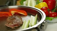 Stock Video Footage of Beef Steak Grilled With Vegetables