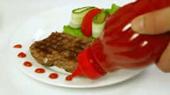 Grilled Steak On A Plate Stock Footage
