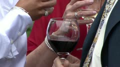 Wine glass in hand - stock footage
