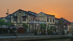 Timelapse of Sunrise in Hoi An Stock Footage