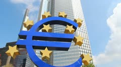 Euro sign and European Central Bank - stock footage