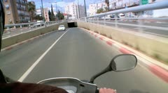 Driving on a Motorcycle - Driver Sight 1 Stock Footage