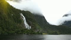 View on Lady Bowen Falls from boat Stock Footage
