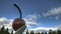 Cherry on a spoon Stock Footage