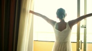 Stock Video Footage of Girl opens the curtains in the morning HD