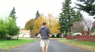 Stock Video Footage of Autumn Neighborhood Walk 1