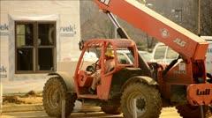 Construction Fork Lift Sitting Still Stock Footage