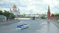 Ship on Moscow River in background of Christ Savior Cathedral Stock Footage