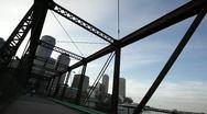 Northern Ave Bridge dutch angle Stock Footage