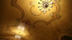 Antique chandeliers in monastery Stock Footage