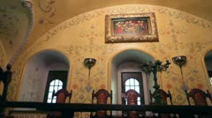 Old picture saints on the wall of the monastery - stock footage