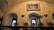 Old picture saints on the wall of the monastery Stock Footage