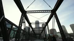 Northern Ave Bridge with Skyline day Stock Footage