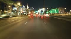 Time Lapse of Driving Down the Las Vegas Strip at Night - stock footage