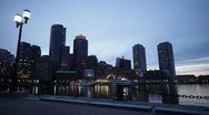 Seaport skyline harborwalk chain Stock Footage