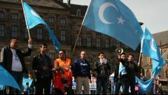 Uyghurs from East Turkistan  in Amsterdam Stock Footage