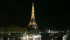 Blinking Eiffel Tower-Paris, France Stock Footage