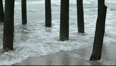 Ocean Waves on Wooden Pier Pilings HD - stock footage