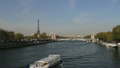 The river seine and Eiffel Tower Stock Footage