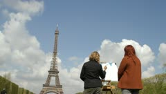 Eiffel Tower and Artists - stock footage