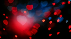 Heart shaped bokeh background in red and blue tones Stock Footage