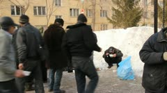 Distribution of hot meals to homeless persons, Russia - stock footage