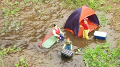 Toys Camping Get Flooded Stock Footage