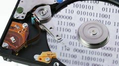 Hard disk drive (hdd) working open, IT / storage concept Stock Footage