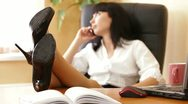 Relaxed Female Executive Stock Footage