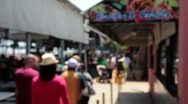 Defocused Crowd Of People On Boardwalk Stock Footage