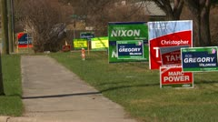 Politics, election sign montage Stock Footage