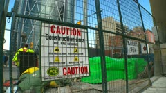 Caution construction area sign, wide angle Stock Footage