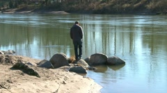 Person at River Setting 2 Stock Footage