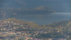 Kalamalka Lake from 1300' above the valley, long shot Stock Footage