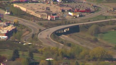Time-lapse, highway interchange long lens, from 1200' above valley Stock Footage