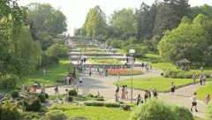 The people crowd in the picturesque park Stock Footage