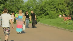 The people crowd in the picturesque park - stock footage