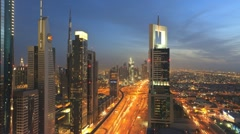 Stock Video Footage of Dusk to night transition time-lapse, Dubai, United Arab Emirates