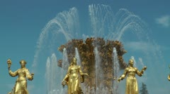 Fountain Friendship of nations Stock Footage