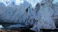 Stock Video Footage of Glacier calving, Falling Ice, Close Up, Handheld & STABILIZED, Perito Moreno